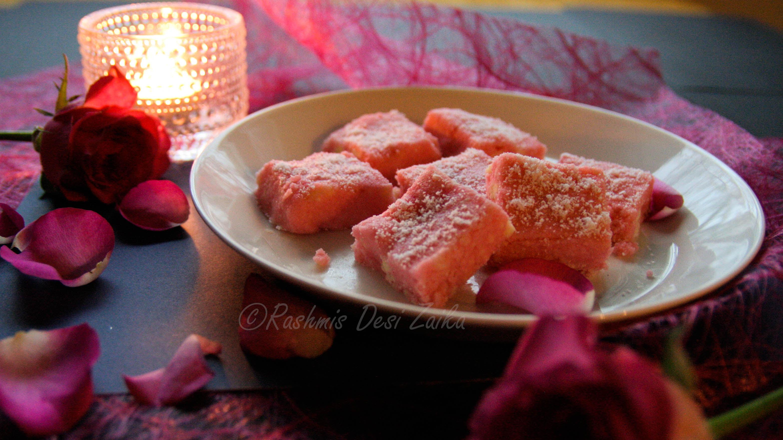 Coconut Rose Burfi-Pink Burfi