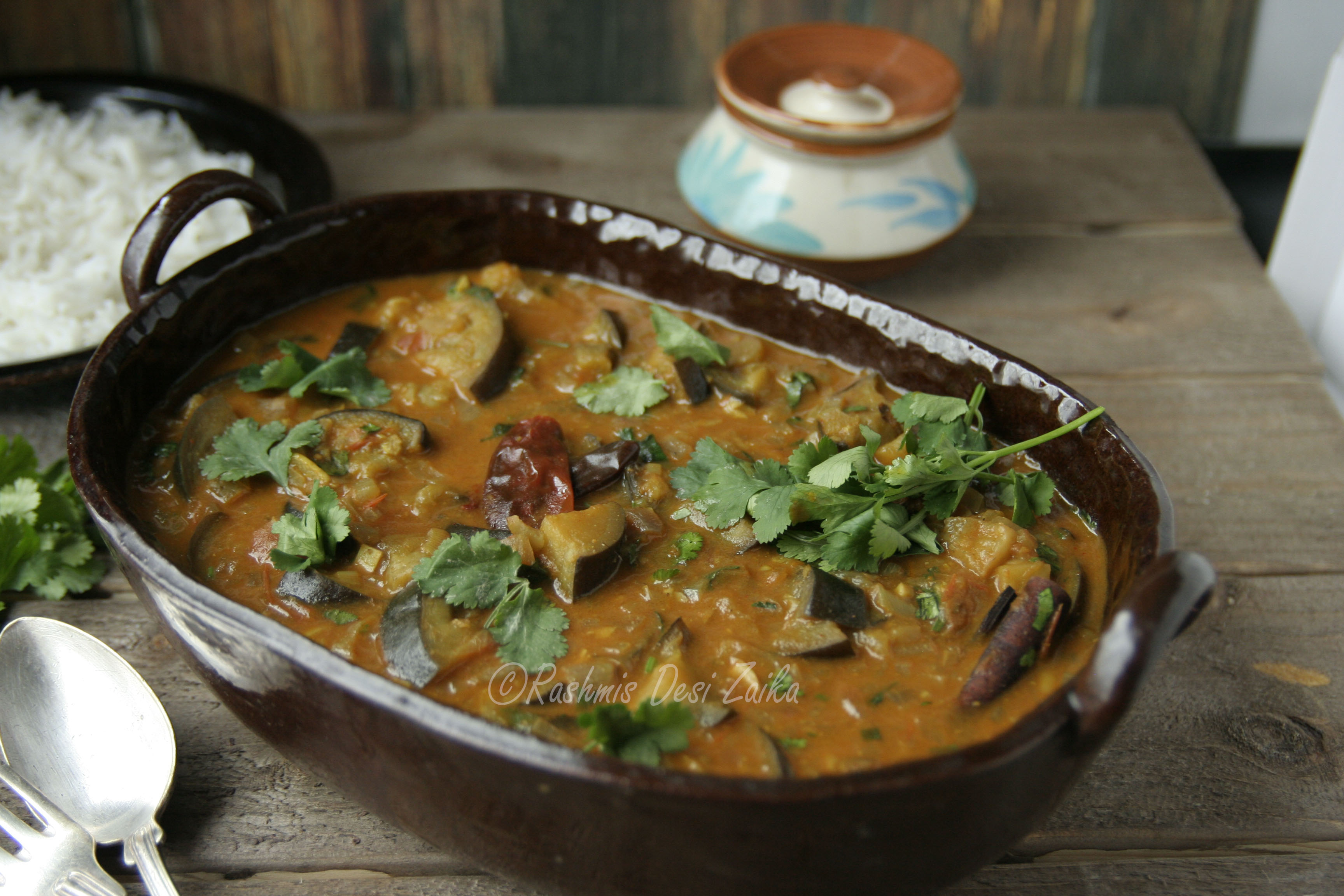 Roasted Eggplant with Whole Spices and Coconut Milk