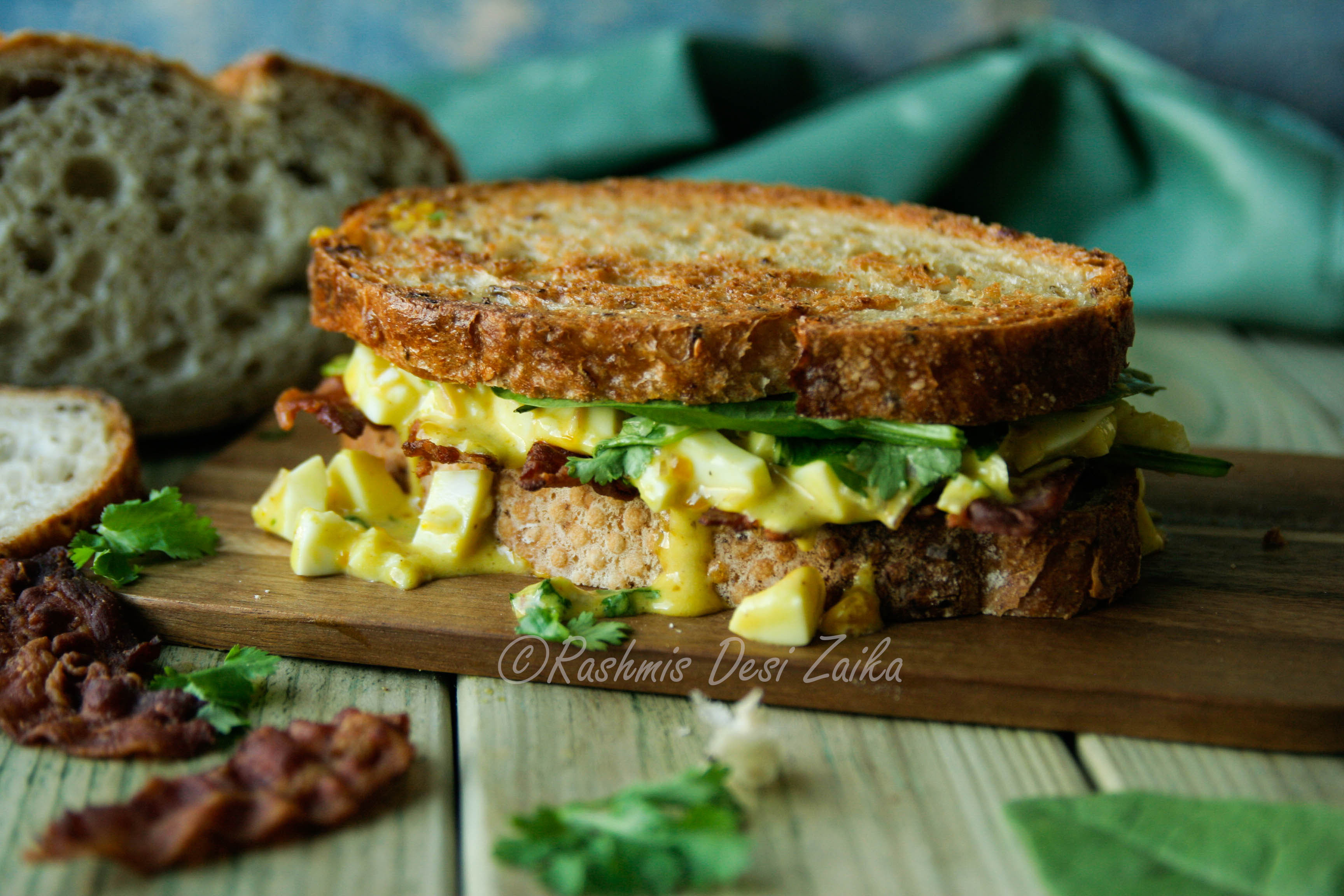 Spiced Egg Salad and Crispy Bacon Sandwich