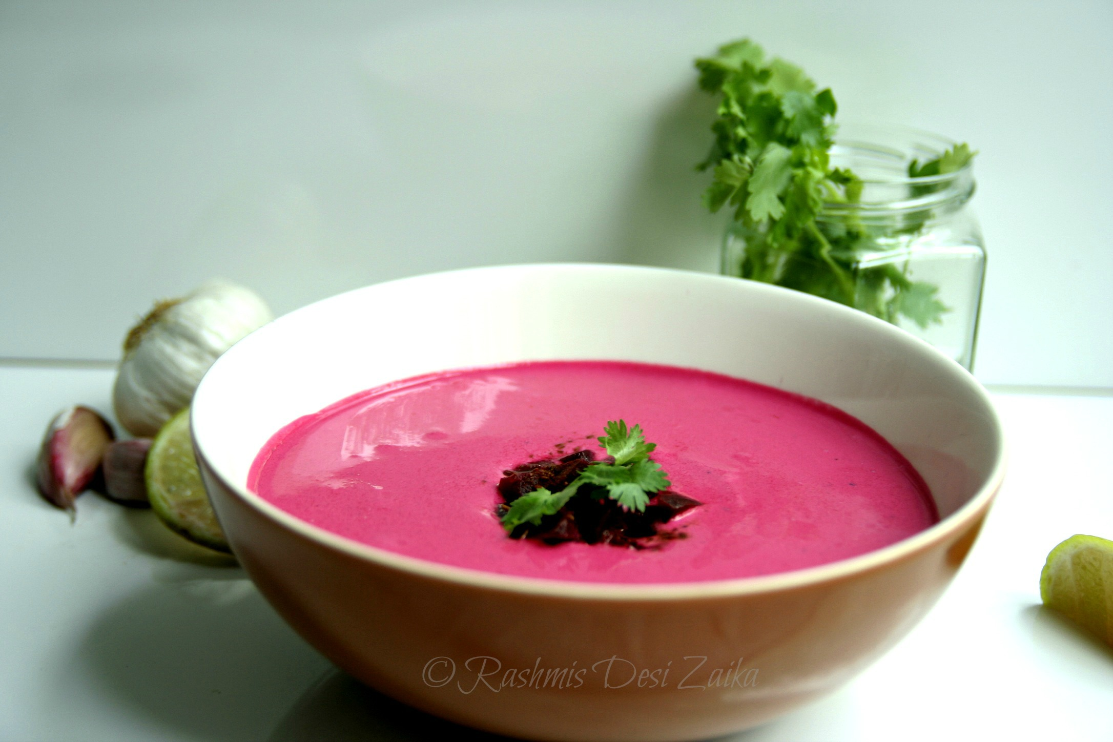 Roasted Beetroot and Garlic Raita