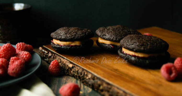 Dark Chocolate Cookie Sandwich With Whipped White Chocolate Ganache