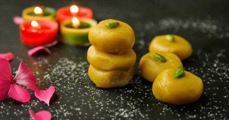 Kesari Kaju Peda-Saffron Cashew Nut Fudge